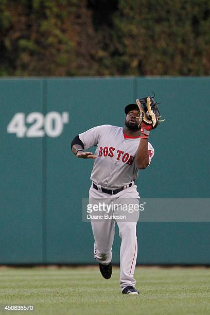 Center fielder Jackie Bradley of the Boston Red Sox catches a fly ball hit by Victor Martinez of the Detroit Tigers during the second inning at...