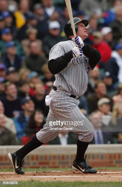 Center fielder Jeromy Burnitz of the Colorado Rockies at bat during the game against the Chicago Cubs on May 7, 2004 at Wrigley Field in Chicago,...