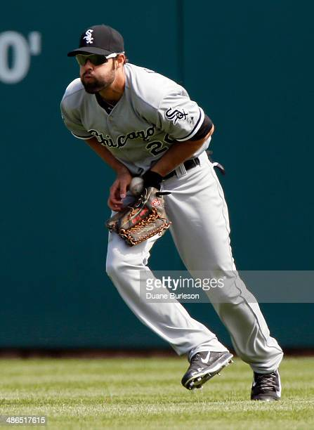 Center fielder Jordan Danks of the Chicago White Sox fields a single off the bat of Bryan Holaday of the Detroit Tigers in the eighth inning at...
