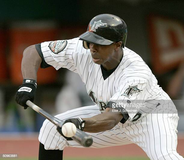 Center fielder Juan Pierre of the Florida Marlins attempts to bunt against the Chicago White Sox in the second inning on June 15, 2004 at Pro Player...