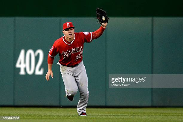 Center fielder Mike Trout of the Los Angeles Angels of Anaheim makes the catch on a ball off the bat of Bryce Harper of the Washington Nationals in...