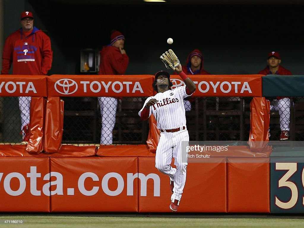Center fielder Odubel Herrera #37 makes a catch on a ball hit by Freddie Freeman #5 of the Atlanta Braves during the seventh inning of a game at Citizens Bank Park on April 24, 2015 in Philadelphia, Pennsylvania. The Braves defeated the Phillies 5-3.