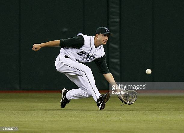 Center fielder Rocco Baldelli of the Tampa Bay Devil Rays made the catch during action against the New York Yankees at Tropicana Field September 25,...