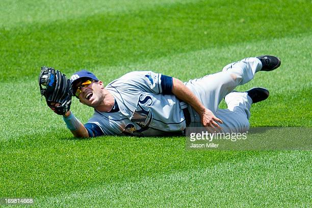 Center fielder Sam Fuld of the Tampa Bay Rays catches a fly ball hit by Drew Stubbs of the Cleveland Indians to end the fourth inning at Progressive...