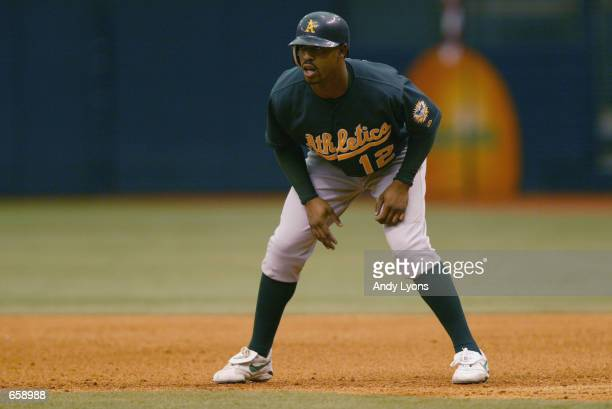 Center fielder Terrence Long of the Oakland Athletics leads off first base during the MLB game against the Tampa Bay Devil Rays at Tropicana Field in...