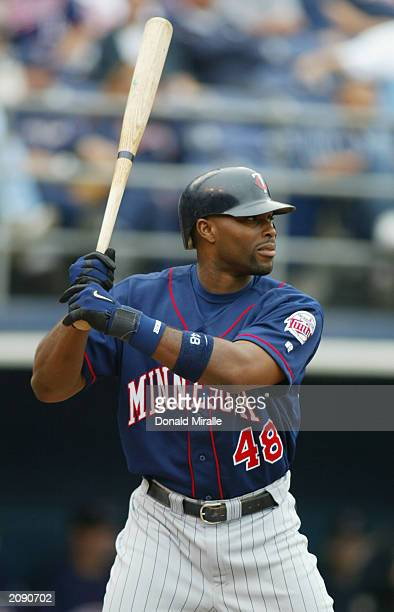 Center fielder Torii Hunter of the Minnesota Twins readies for the pitch during the Interleague MLB game against the San Diego Padres at Qualcomm...