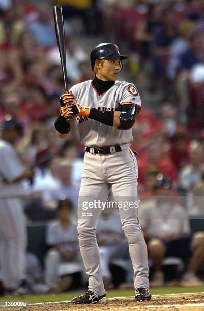 Center fielder Tsuyoshi Shinjo of the San Francisco Giants waits for the pitch during the MLB game against the St Louis Cardinals on July 17 2002 at...