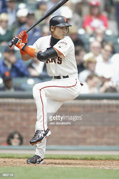Center fielder Tsuyoshi Shinjo of the San Francisco Giants waits for the pitch during the MLB game against the Philadelphia Phillies at Pac Bell Park...