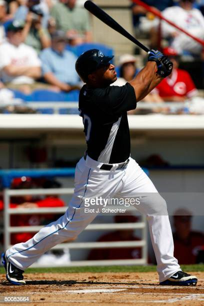 Center fielder Vernon Wells of the Toronto Blue Jays at bat against the Cincinnati Reds during a Spring Training game at Knology Park on March 2 2008...