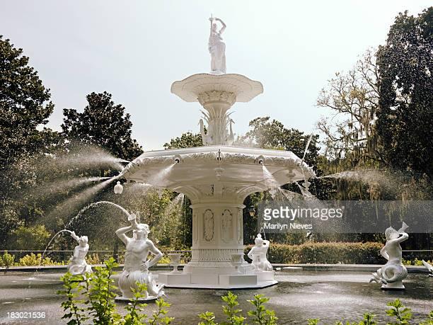 center fountain at forsyth park - savannah georgia stock photos and pictures