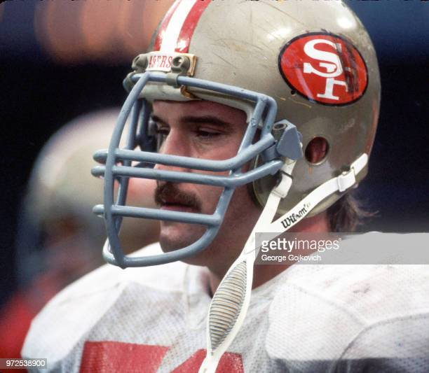 Center Fred Quillan of the San Francisco 49ers looks on from the sideline during a game against the Cleveland Browns at Cleveland Municipal Stadium...