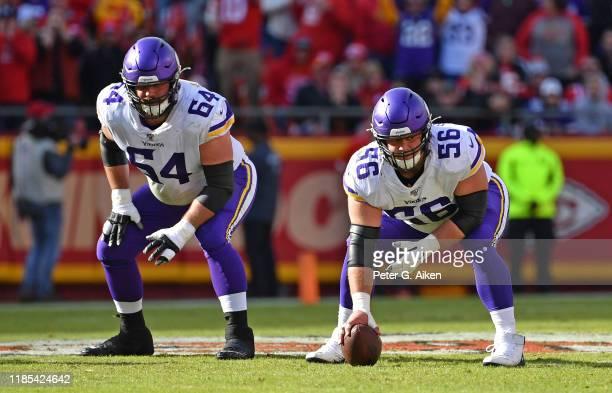 Center Garrett Bradbury and offensive guard Josh Kline of the Minnesota Vikings get set on the offensive line against the Kansas City Chiefs during...