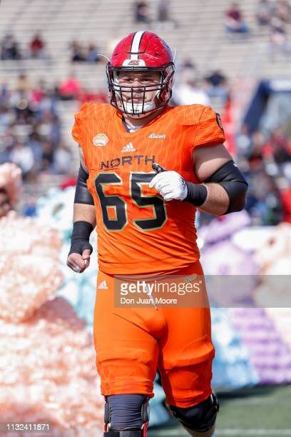 Center Garrett Bradbury of NC State of the North Team during the team's intro before the start of the 2019 Resse's Senior Bowl at LaddPeebles Stadium...