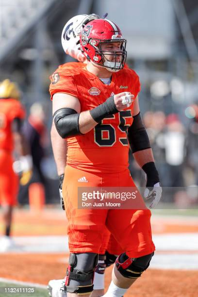 Center Garrett Bradbury of NC State of the North Team in action during the 2019 Resse's Senior Bowl at LaddPeebles Stadium on January 26 2019 in...