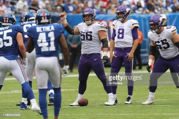 Center Garrett Bradbury of the Minnesota Vikings calls a play against the New York Giants during the second half at MetLife Stadium on October 06...