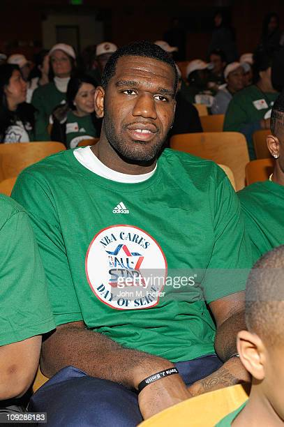 Center Greg Oden attends the NBA Cares AllStar Day of Service with City Year at Virgil Middle School on February 18 2011 in Los Angeles California