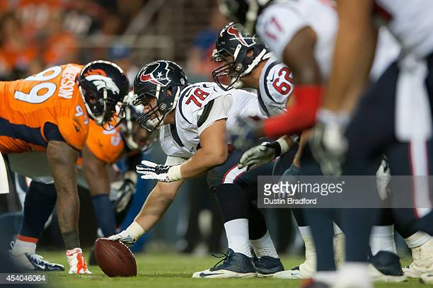 Center James Ferentz of the Houston Texans lines up at center against the Denver Broncos during a preseason game at Sports Authority Field at Mile...