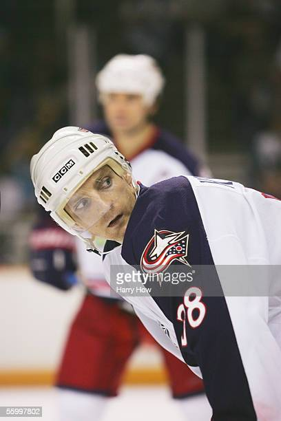 Center Jan Hrdina of the Columbus Blue Jackets looks on against the San Jose Sharks during the home opening game at the HP Pavilion on October 12...