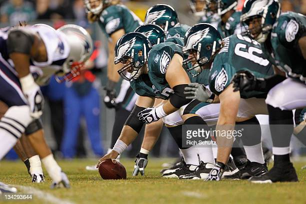 Center Jason Kelce of the Philadelphia Eagles readies tto snap the ball at the line of scrimmage against the New England Patriots at Lincoln...