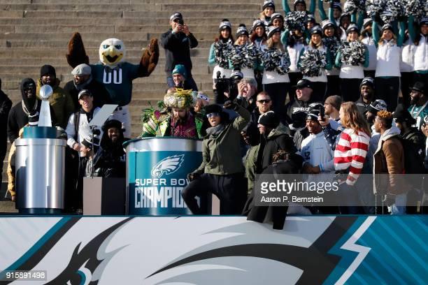 Center Jason Kelce speaks at a ceremony honoring the Philadelphia Eagles Super Bowl win on February 8, 2018 in Philadelphia, Pennsylvania.
