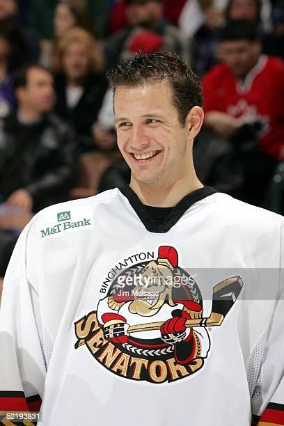 Center Jason Spezza of the Binghamton Senators smiles before the start of the American Hockey League All Star Skills Competition on February 13 2005...