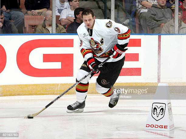 Center Jason Spezza of the Binghamton Senators wins the individual puck control relay during the American Hockey League All Star Skills Competition...
