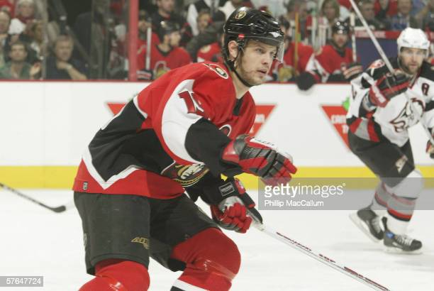 Center Jason Spezza of the Ottawa Senators skates against the Buffalo Sabres in Game 2 of the Eastern Conference Semi-finals during the 2006 NHL...
