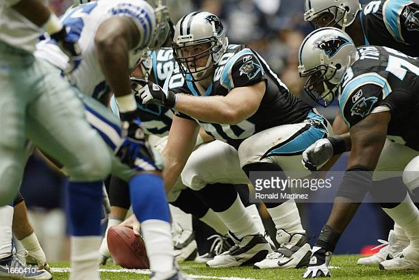 Center Jeff Mitchell of the Carolina Panthers crouches over the ball during the NFL game against the Dallas Cowboys at Texas Stadium on October 13,...