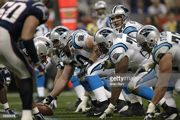 Center Jeff Mitchell of the Carolina Panthers prepares to snap the ball during Super Bowl XXXVIII against the New England Patriots at Reliant Stadium...