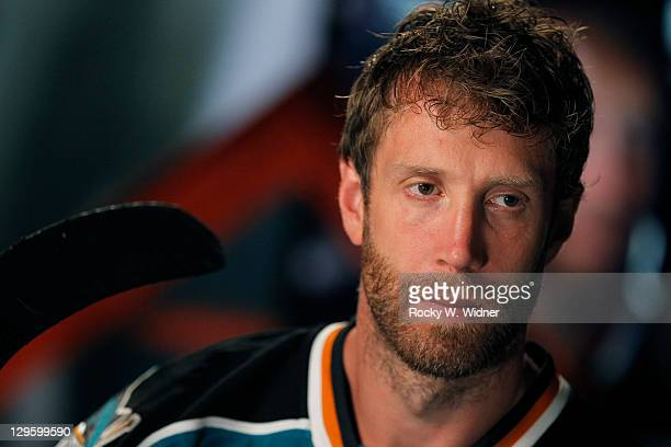 Center Joe Thornton of the San Jose Sharks poses for a video shoot on Media Day at Sharks Ice the San Jose Sharks official practice facility on...