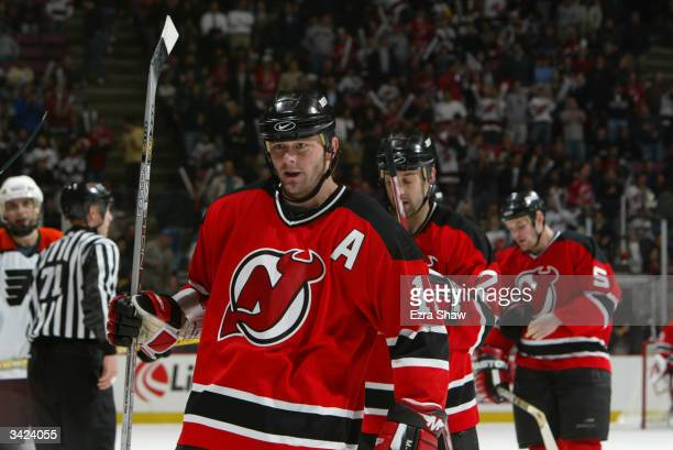 Center John Madden of the New Jersey Devils is on the ice for game three of the Eastern Conference quarterfinals against the Philadelphia Flyers at...
