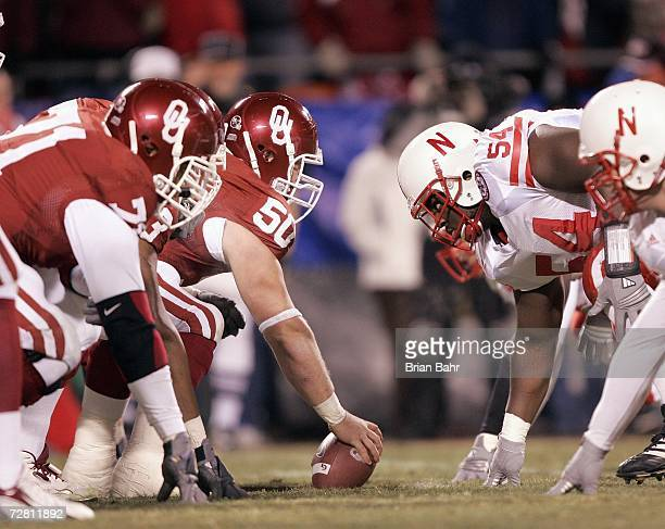 Center Jon Cooper of the Oklahoma Sooners faces off against the Nebraska Cornhuskers during the 2006 Dr Pepper Big 12 Championship on December 2 2006...