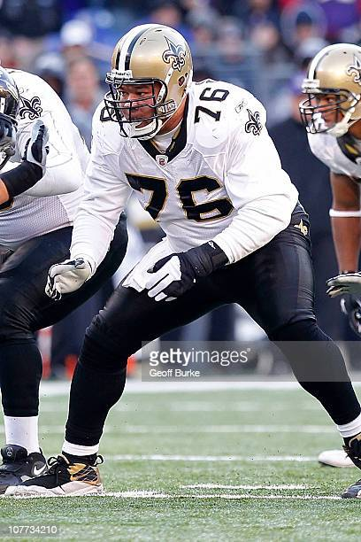 Center Jonathan Goodwin of the New Orleans Saints blocks against the Baltimore Ravens at MT Bank Stadium on December 19 2010 in Baltimore Maryland