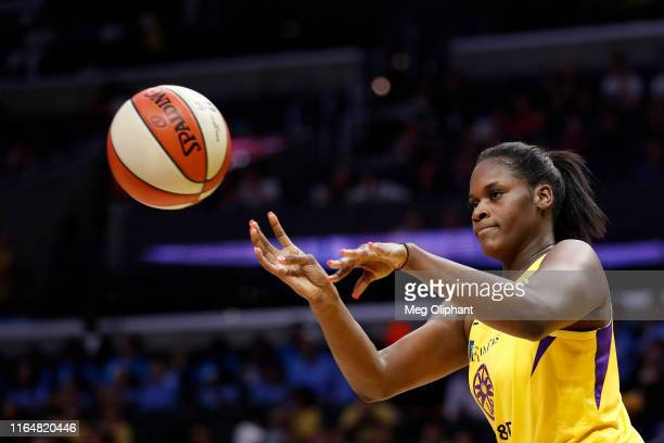 Center Kalani Brown of the Los Angeles Sparks passes the ball in the game against the Dallas Wings at Staples Center on July 18 2019 in Los Angeles...