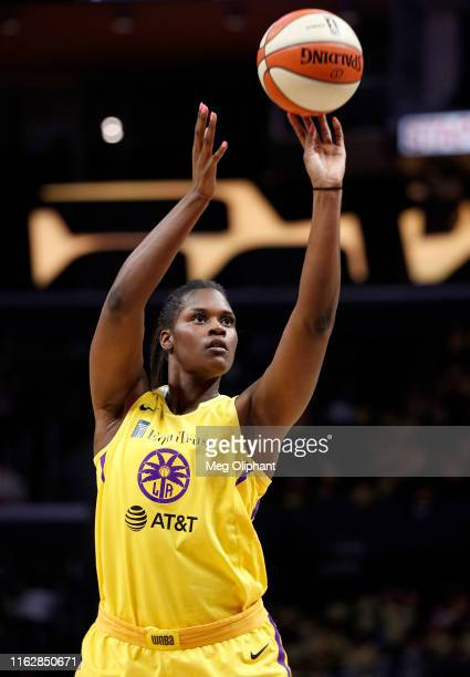 Center Kalani Brown of the Los Angeles Sparks takes a free throw against the Dallas Wings at Staples Center on July 18 2019 in Los Angeles California...
