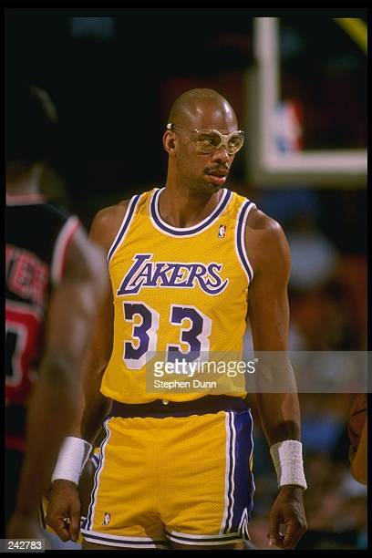 Center Kareem AbdulJabbar of the Los Angeles Lakers looks on during a game at the Great Western Forum in Inglewood California Mandatory Credit...