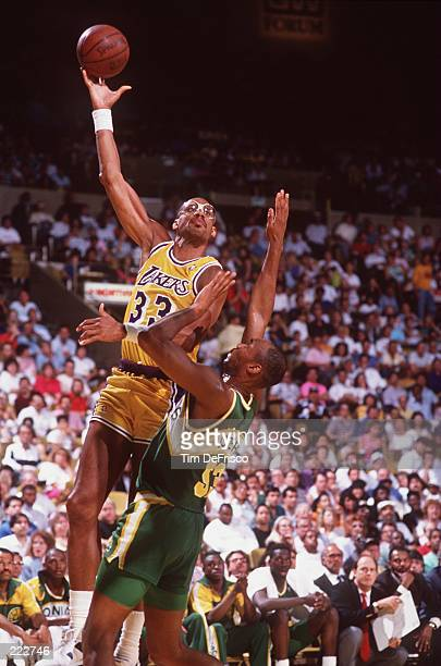 Center Kareem AbdulJabbar of the Los Angeles Lakers shoots a hook shot during the Lakers versus Seattle Supersonics game at the Great Western Forum...