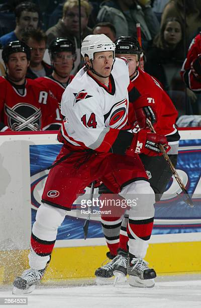 Center Kevyn Adams of the Carolina Hurricanes on the ice during the game against the Buffalo Sabres on November 21 2003 at the HSBC Arena in Buffalo...