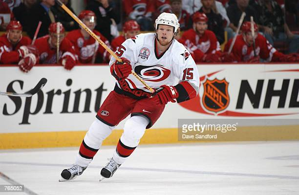 Center Kevyn Adams of the Carolina Hurricanes skates on the ice during game three of the NHL Stanley Cup Finals against the Detroit Red Wings on June...