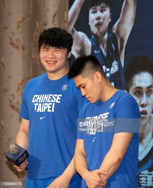 Center Kuan Chuan Chen and CBA team Guangzhou LongLions gurads Ying Chun Chen attends the Chinese Taipei Basketball national team press conference...