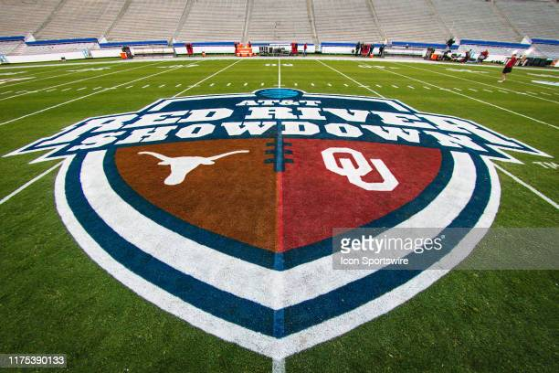 Center logo of Cotton Bowl field prior to the Big 12 Red River Showdown game between the Texas Longhorns and the Oklahoma Sooners on October 12, 2019...