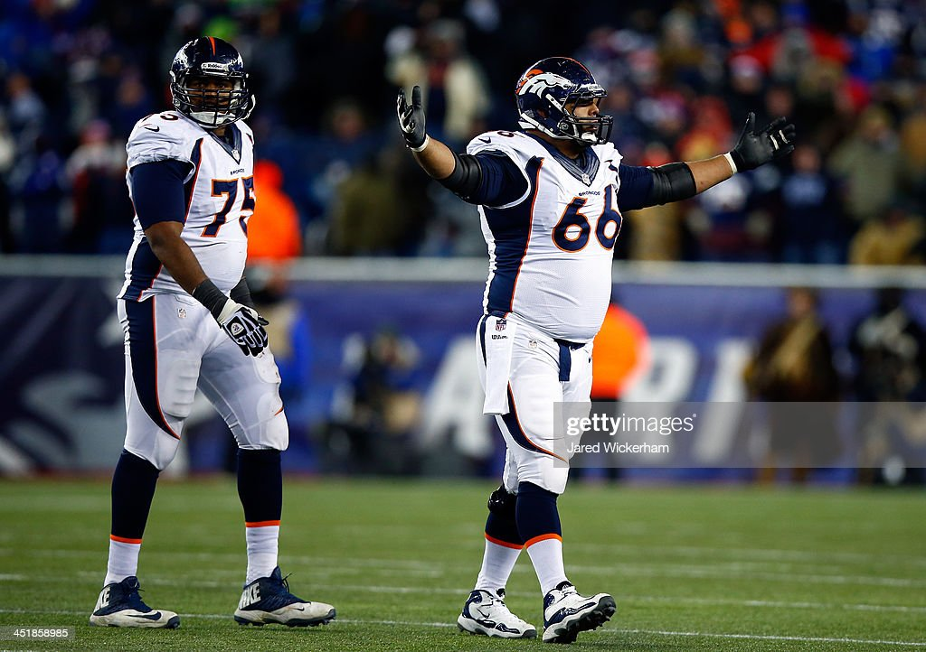 Center Manny Ramirez #66 of the Denver Broncos reacts after an incomplete pass against the New England Patriots during a game at Gillette Stadium on November 24, 2013 in Foxboro, Massachusetts.