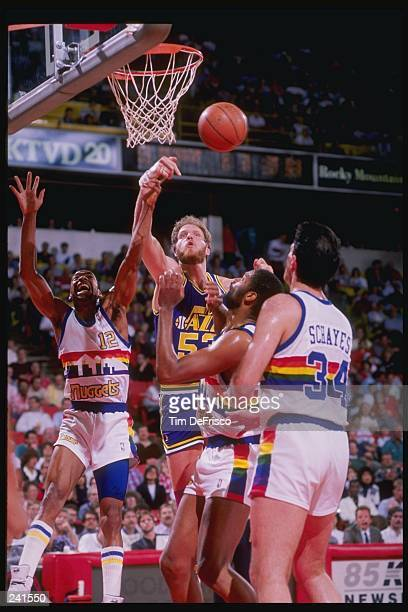 Center Mark Eaton of the Utah Jazz in action during a game against the Denver Nuggets at McNichols Arena in Denver Colorado Mandatory Credit Tim de...