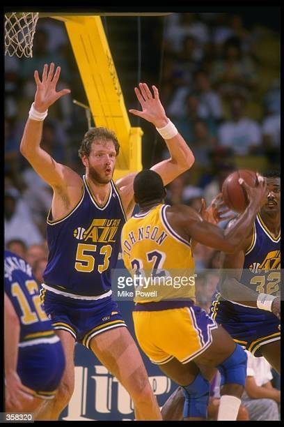 Center Mark Eaton of the Utah Jazz plays defense during a game