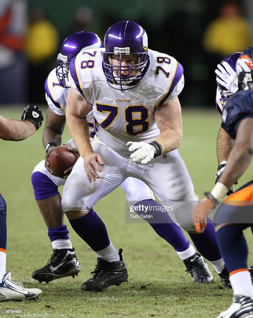Center Matt Birk #78 of the Minnesota Vikings sets up to block at an NFL game against the Denver Broncos at Invesco Field at Mile High, on December 30, 2007 in Denver, Colorado.