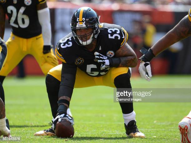 Center Maurkice Pouncey of the Pittsburgh Steelers awaits the snap from his position in the third quarter of a game on September 10 2017 against the...