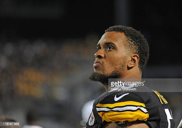 Center Maurkice Pouncey of the Pittsburgh Steelers looks on from the sideline during a preseason game against the New York Giants at Heinz Field on...