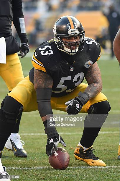 Center Maurkice Pouncey of the Pittsburgh Steelers looks on from the line of scrimmage during a game against the Kansas City Chiefs at Heinz Field on...
