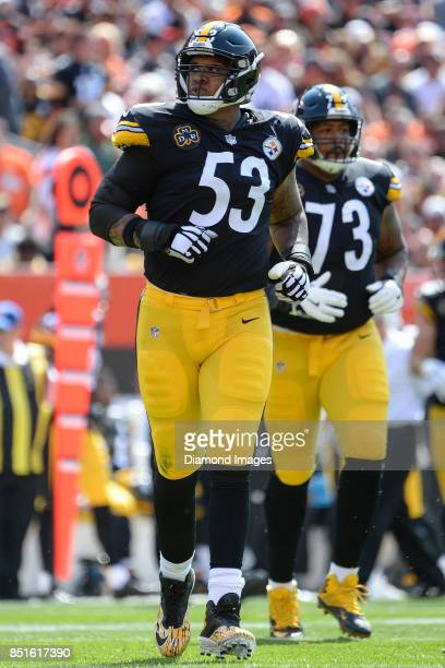 Center Maurkice Pouncey of the Pittsburgh Steelers runs onto the field in the second quarter of a game on September 10 2017 against the Cleveland...