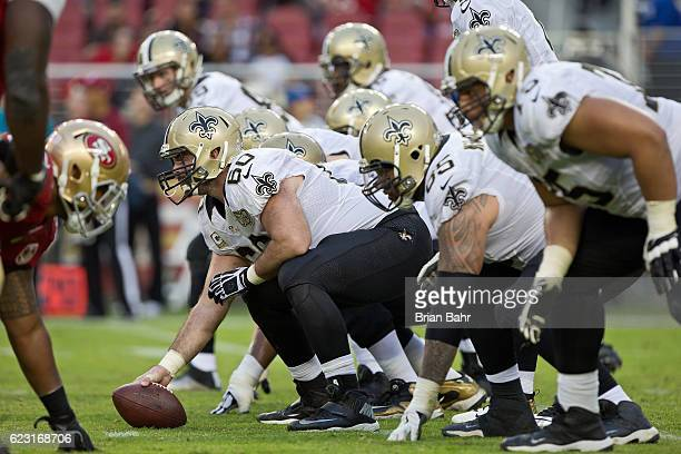 Center Max Unger of the New Orleans Saints prepares to snap the ball against the San Francisco 49ers in the fourth quarter on November 6 2016 at...
